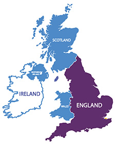 UK and Ireland map highlighting England