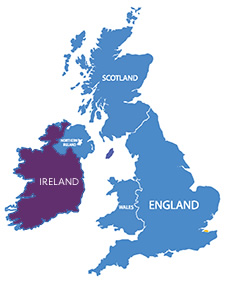 UK and Ireland map with focus on ireland