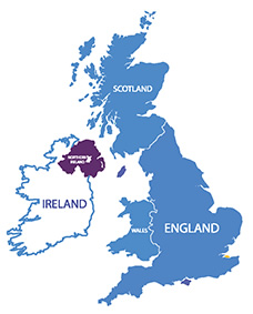 UK and Ireland map with focus on Northern Ireland