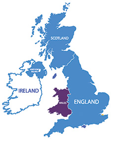 UK and Ireland map with focus on Wales