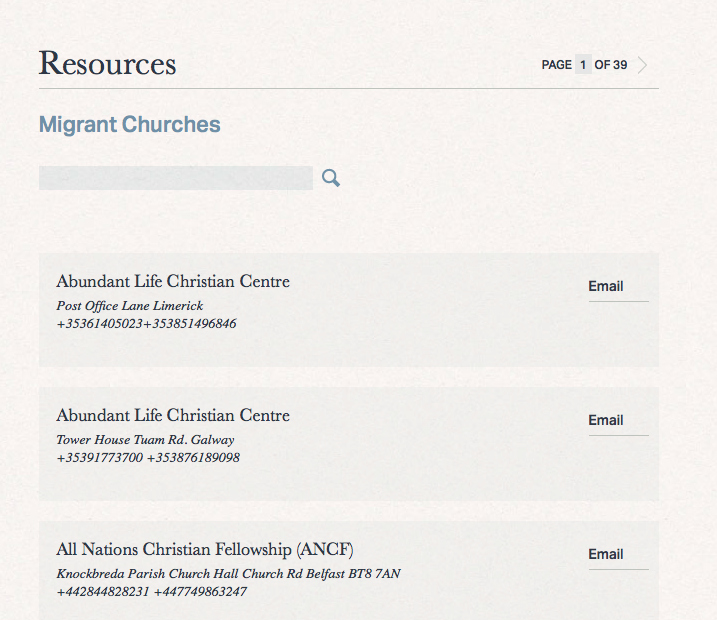 Directory of Irish Migrant Churches