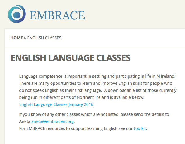 Directory of English Language Classes in Northern Ireland