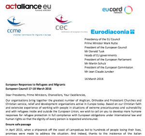 European Ecumenical response to European Council