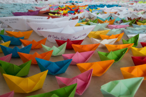 STAR close up of paper boats delivered to 10 Downing Street