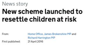 Home Office headline on 3000 children resettlement