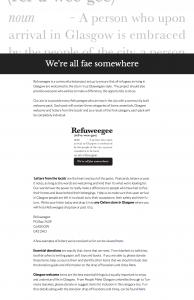 Refuweegee homepage snapshot