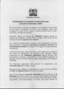 Kenya government statement on closing camps 1