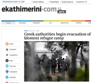 ekathimerinidotcom evacuation of Idomeni refugee camp snippet