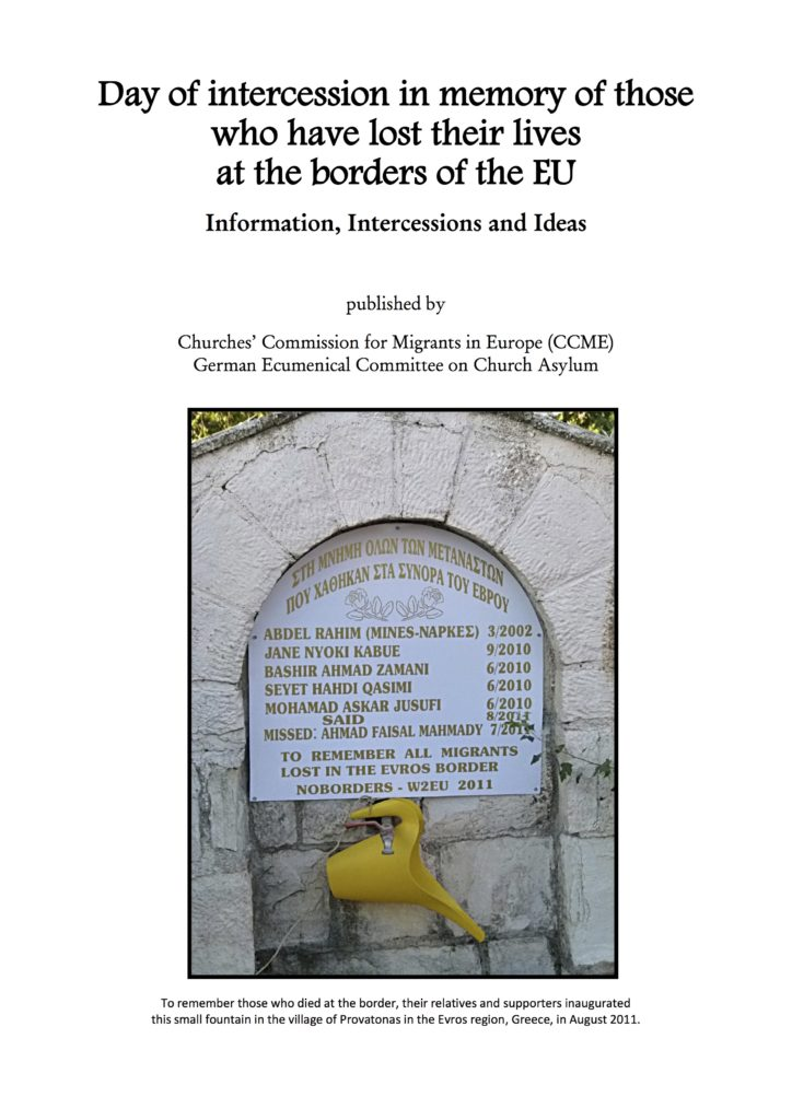 CCME Commemoration Intercession lives lost at Europe borders
