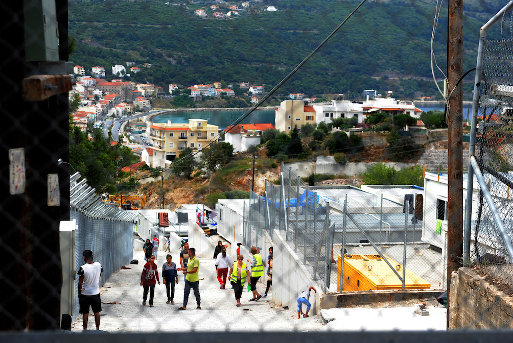 The Island of Samos which in it's peak (Novemeber 2015) was receiving 85,000 refugees a month arriving by boat. Pictured is the 'new' government run refugee camp where they have all been held since the borders between Turkey,Greece and Macadonia closed.