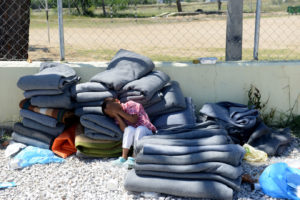 CTBI group on a visit to Greece to assess the new Syrian refugee crisis which is unfolding in the country. Pictured is a government run refugee camp near the Macadonian border where blankets are washed and 'sterilised' before being returned to the refugees.