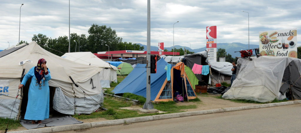 CTBI group on a visit to Greece to assess the new Syrian refugee crisis which is unfolding in the country. Pictured is the 'wild' camp at the Eko Gas station which was originally just a stop off point on the way to the Macadonian border but since the border closed early March, it has become semi-permenant.