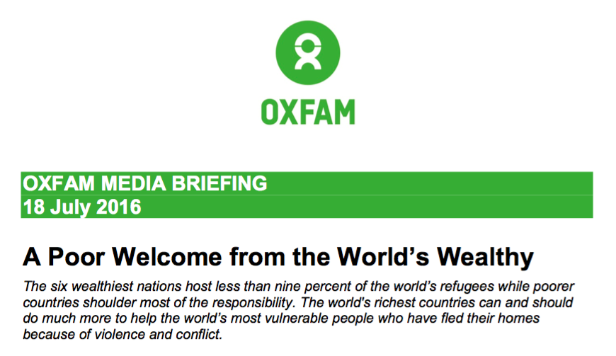 Oxfam: Richest countries least welcoming