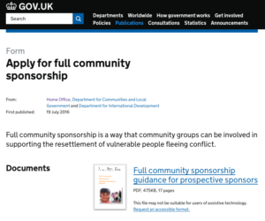 UK Gov Refugee community sponsorship forms