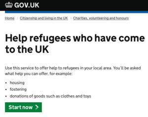 UK Gov Refugee online help service