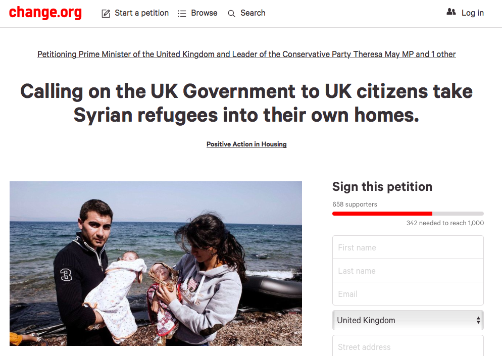 Housing refugees in family homes – Positive Action in Housing petition