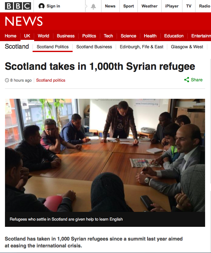Scotland welcomes 1,000th Syrian refugee under resettlement programme