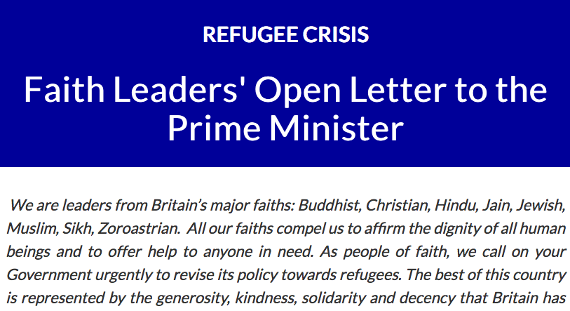 "Faith leaders call on UK Gov to ""urgently revise its policy towards refugees"""
