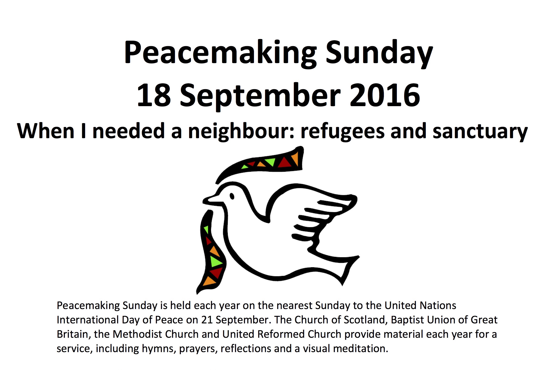 Peacemaking Sunday (18 September 2016)