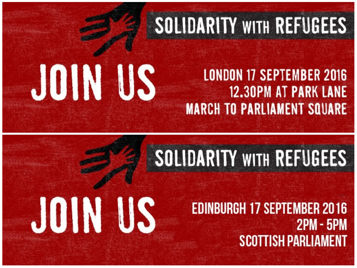 #RefugeesWelcome march this weekend, prayer service + other events