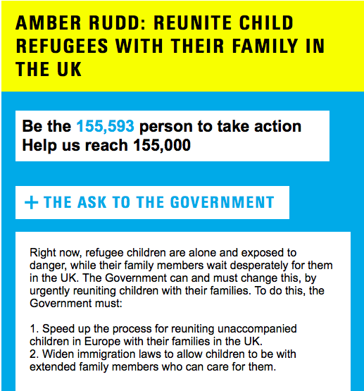 Unicef UK Home Secretary petition children family reunification