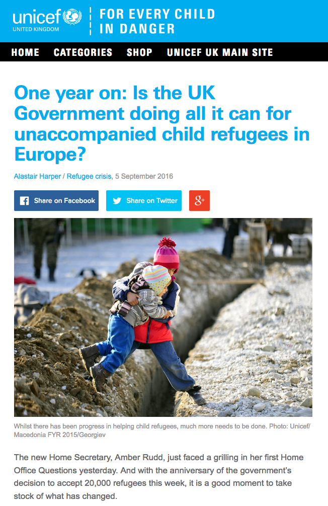Unicef blog child refugee family reunification screenshot