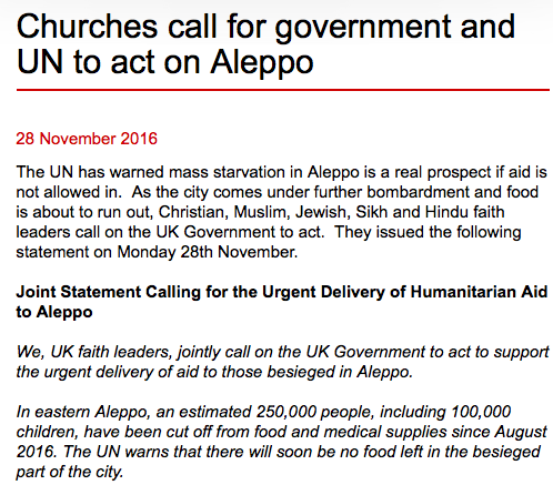 UK faith leaders call on UK Government & UN General Assembly to act on Aleppo