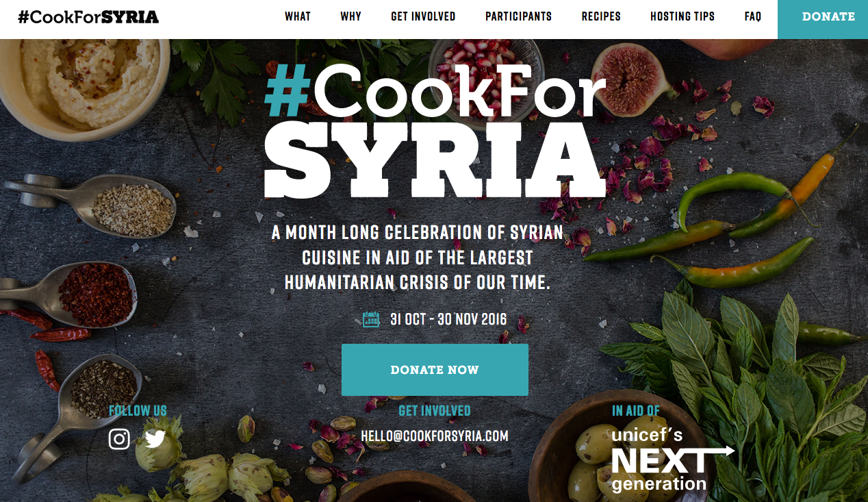#CookForSyria – restaurant dishes, supper clubs and a recipe book – all raising money for UNICEF's humanitarian work