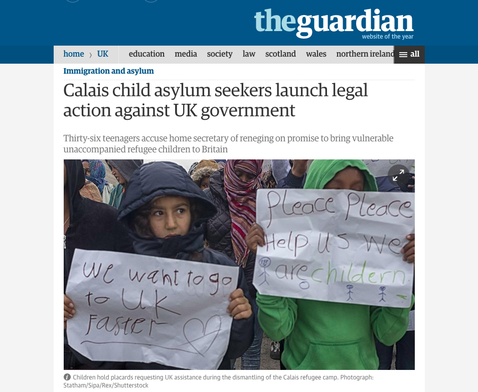 Unaccompanied children formerly resident in Calais Jungle launch legal action against UK Home Secretary