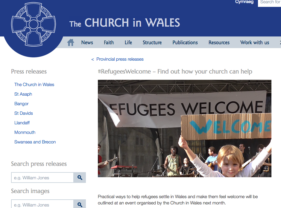 Church in Wales #RefugeesWelcome event in Llangollen on Monday 12 December