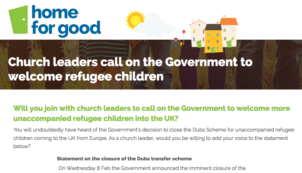 Home for Good ask UK church leaders to sign statement in light of Dubs scheme closure