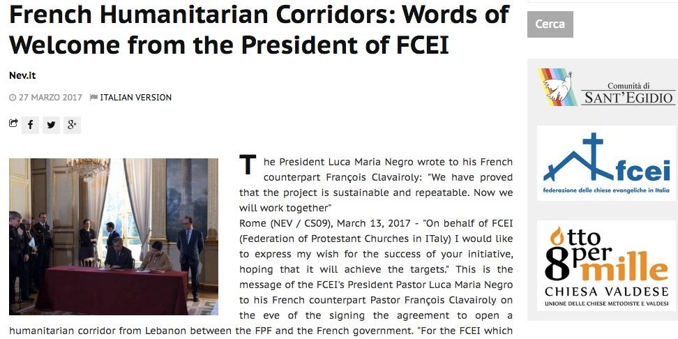 Humanitarian Corridor opens from Lebanon to France, building on Italian pilot