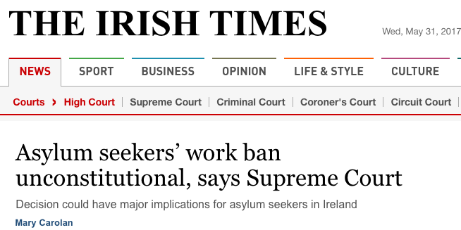 Irish Supreme Court: asylum work ban unconstitutional