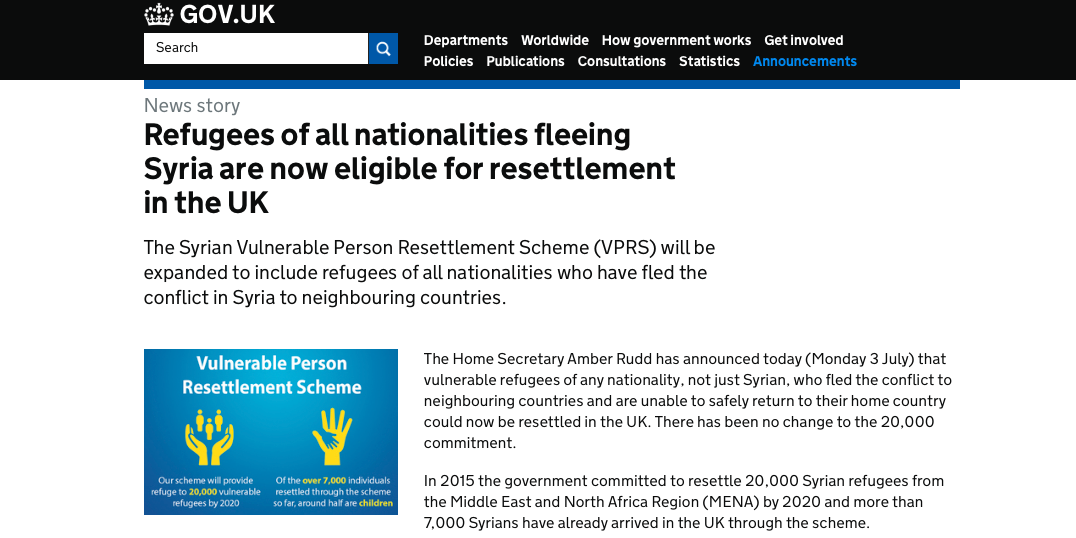 UK Resettlement Scheme now open to non-Syrians
