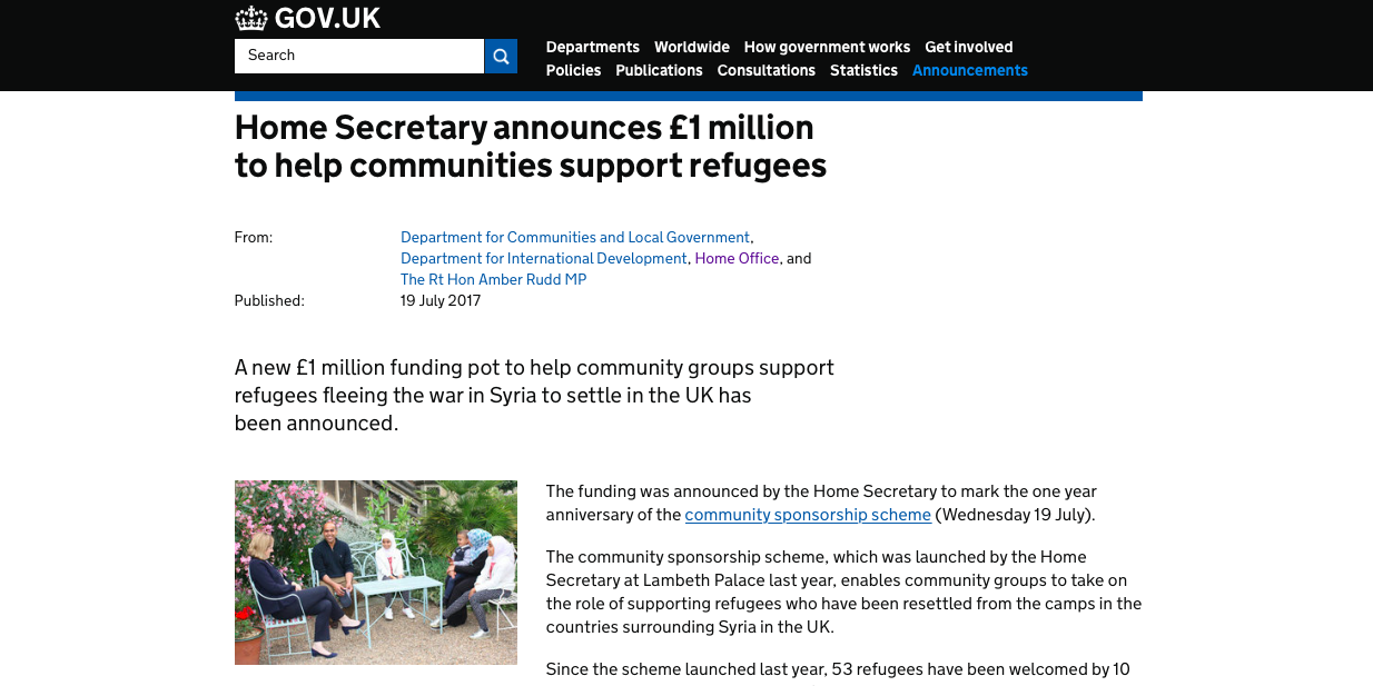 £1m UK Gov injection to support community sponsorship groups