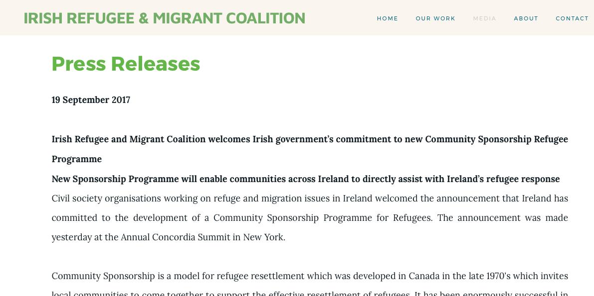 Irish Government announce community sponsorship programme