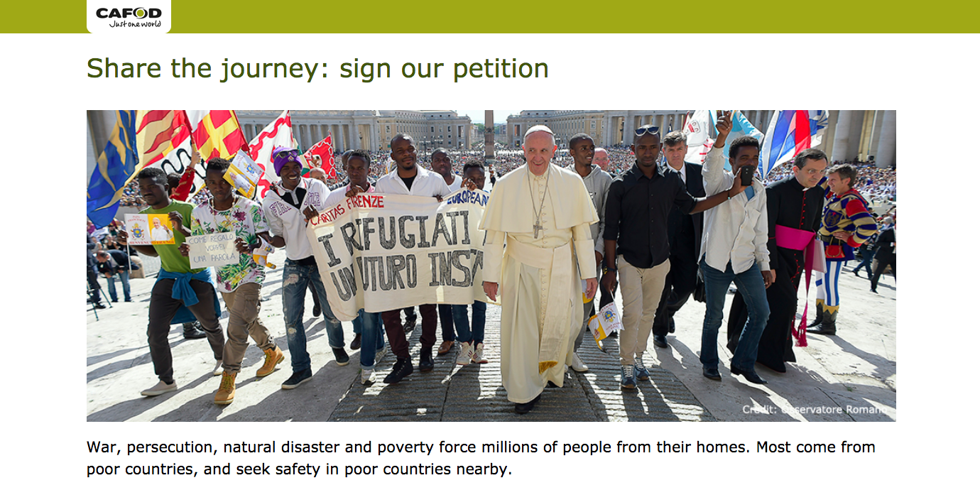Share the Journey: Pope Francis urges people to press governments over dignity of people on the move