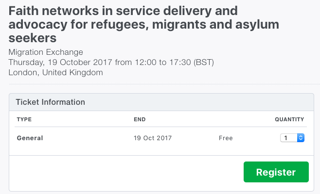 Workshop on Faith Networks for Service Delivery and Advocacy for Refugees (London, 19 October)