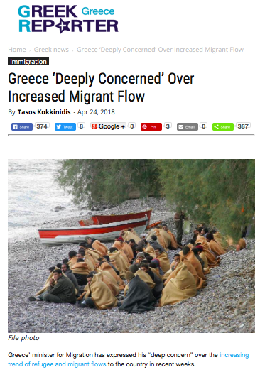 Increased numbers of refugees arriving at Greek land borders and islands