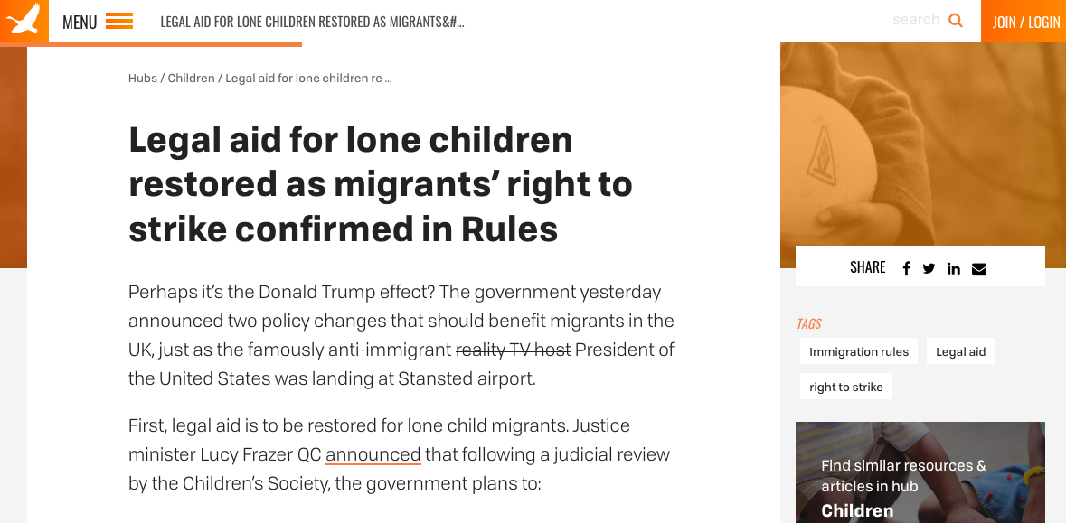 Legal aid to be restored to unaccompanied and separated children
