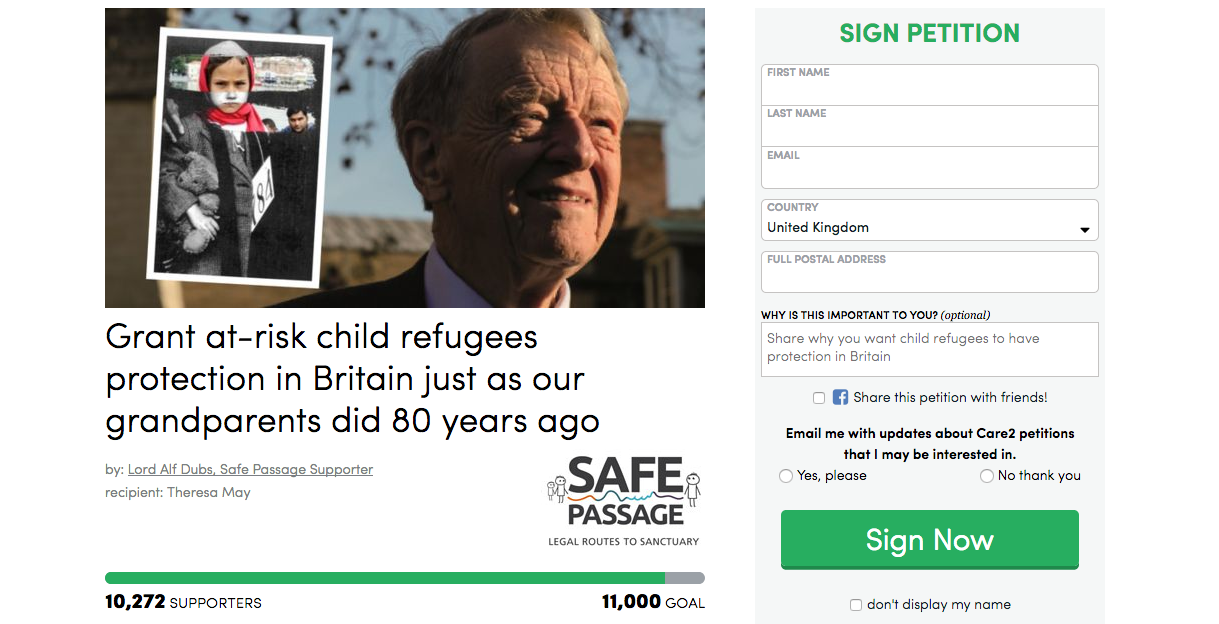 Lord Dubs launches petition: safe passage to UK for 10,000 child refugees